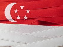 Флаг или знамя Сингапура Стоковое фото RF