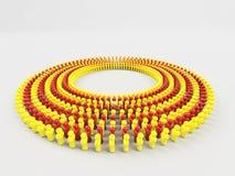 флаг иллюстрации 3D Каталонии сделал маленьких людей идя в круг Стоковое фото RF