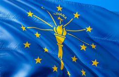 Флаг Индианы E Национальный символ США государства Индианы, перевода 3D Национальные цвета и национальный стоковая фотография rf
