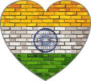 Флаг Индии на кирпичной стене в форме сердца Стоковое фото RF