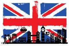 Флаг и силуэты Великобритании Стоковая Фотография
