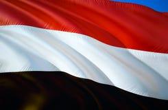 Флаг Йемена развевая дизайн флага 3D Национальный символ Йемен, перевода 3D Национальные цвета предпосылки знака Йемен 3D развева бесплатная иллюстрация