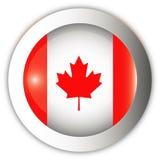 флаг Канады кнопки aqua Стоковое Изображение