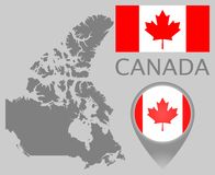 Флаг Канады, пустая карта и указатель карты бесплатная иллюстрация
