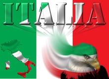 Флаг/карта & орел Италии Стоковая Фотография