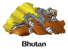 Флаг карты Бутана 3D представляя карту и флаг Бутана на карте Азии Национальный символ Бутана флаг Thimphu на предпосылке Азии стоковые изображения
