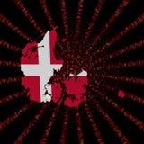 Флаг карты Дании на красном коде наговора разрывал иллюстрацию иллюстрация вектора