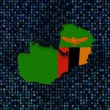 Флаг карты Замбии на иллюстрации кода наговора бесплатная иллюстрация