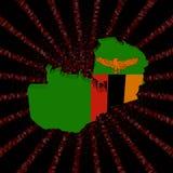 Флаг карты Замбии на красном коде наговора разрывал иллюстрацию иллюстрация штока