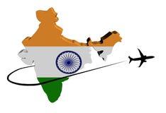 Флаг карты Индии с иллюстрацией самолета и swoosh Стоковое Изображение