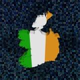 Флаг карты Ирландии на иллюстрации кода наговора иллюстрация вектора