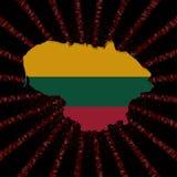 Флаг карты Литвы на красном коде наговора разрывал иллюстрацию иллюстрация вектора
