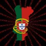 Флаг карты Португалии на красном коде наговора разрывал иллюстрацию бесплатная иллюстрация