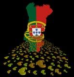 Флаг карты Португалии с иллюстрацией переднего плана евро иллюстрация вектора