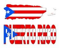 Флаг карты Пуэрто-Рико и иллюстрация текста бесплатная иллюстрация