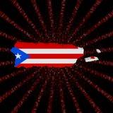 Флаг карты Пуэрто-Рико на красном коде наговора разрывал иллюстрацию иллюстрация штока