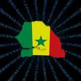 Флаг карты Сенегала на голубом коде наговора разрывал иллюстрацию иллюстрация штока