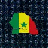 Флаг карты Сенегала на иллюстрации кода наговора иллюстрация вектора