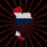 Флаг карты Таиланда на красном коде наговора разрывал иллюстрацию Стоковая Фотография RF