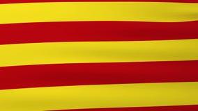 Флаг Каталонии развевая на ветре сток-видео