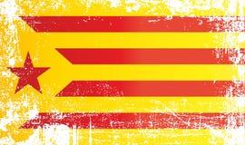 Флаг каталонского сепаратизма, Estelada Blava, королевства Испании Сморщенные грязные пятна иллюстрация вектора