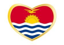 Флаг Кирибати в форме сердца, золотой рамке Стоковые Изображения RF