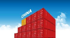 Флаг Китая грузового контейнера доставки для снабжения и транспорт с облаками иллюстрация вектора