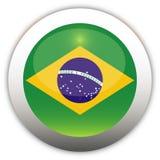 флаг кнопки Бразилии aqua Стоковое Изображение RF