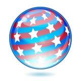 Флаг кнопки США Америка глянцеватый Стоковая Фотография RF