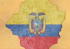 Флаг Колумбии в большом конкретном треснутом отверстии и сломленном материальном фасаде Стоковые Фото