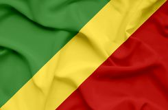 Флаг Конго развевая иллюстрация вектора