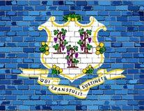 Флаг Коннектикута на кирпичной стене Стоковые Изображения
