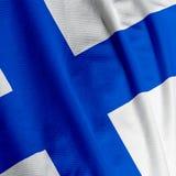 флаг крупного плана финский Стоковые Фото