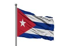 Флаг Кубы развевая в ветре, изолированной белой предпосылке Кубинський флаг иллюстрация вектора