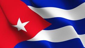 Флаг Кубы развевая на ветре бесплатная иллюстрация