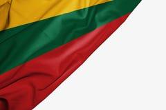 Флаг Литвы ткани с copyspace для вашего текста на белой предпосылке бесплатная иллюстрация