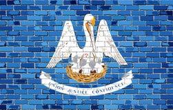 Флаг Луизианы на кирпичной стене Стоковое Фото