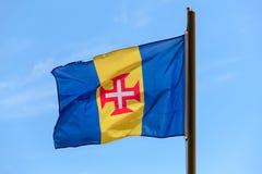 флаг Мадейра Сине-золот-голубое вертикальное triband Стоковая Фотография
