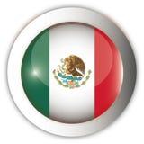 флаг Мексика кнопки aqua Стоковая Фотография