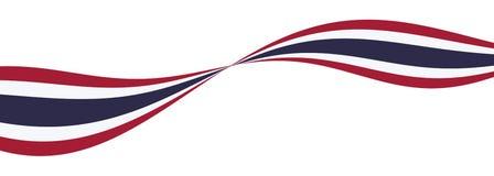 Флаг нации Таиланда кривая красная, белая, голубая лента бесплатная иллюстрация