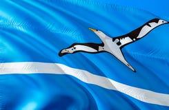 Флаг на полпути островов E Национальный символ США государства Островов Мидуэй, перевода 3D национально стоковые изображения rf