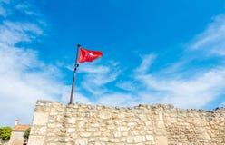 Флаг на стене в Франции Стоковая Фотография RF