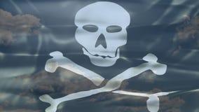 Флаг неба пирата видеоматериал