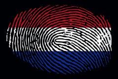 Флаг Нидерландов в форме отпечатка пальцев на черной предпосылке иллюстрация штока