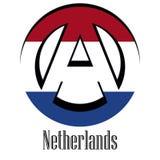 Флаг Нидерланд мира в форме знака анархии иллюстрация вектора