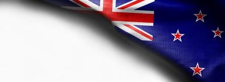 Флаг Новой Зеландии развевая на белой предпосылке Стоковое Изображение RF