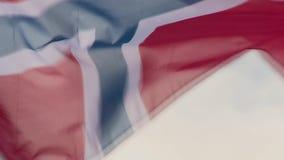 Флаг Норвегии превращается в ветре акции видеоматериалы