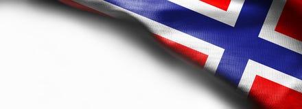 Флаг Норвегии развевая на белой предпосылке Стоковое Фото