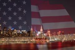 Флаг Нью-Йорка и Соединенных Штатов Стоковые Изображения