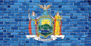 Флаг Нью-Йорка на кирпичной стене Стоковая Фотография RF